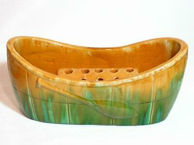 John Campbell Art Deco Boat / Canoe Trough  with Frog. Australian Pottery