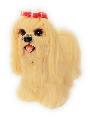 "Collectible Figurine Miniature 4.5/""L New in box Maltese Puppy Dog"