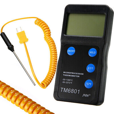 K Type Digital High Temperature Thermometer Pyrometer with Probe 2327℉ Black