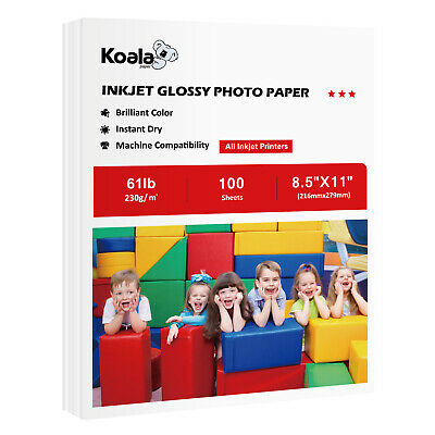 Koala 100 Sheets 8.5x11 High Glossy Inkjet Premium Photo Paper Letter Size Canon
