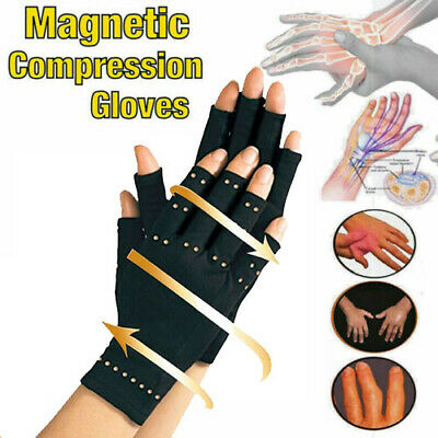 Arthritis Gloves Fingerless Copper Hands Compression Medical Support Therapeutic