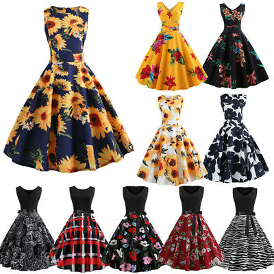Ladies Womens Vintage 50s Style Mesh Rockabilly Evening Party Retro Swing Dress