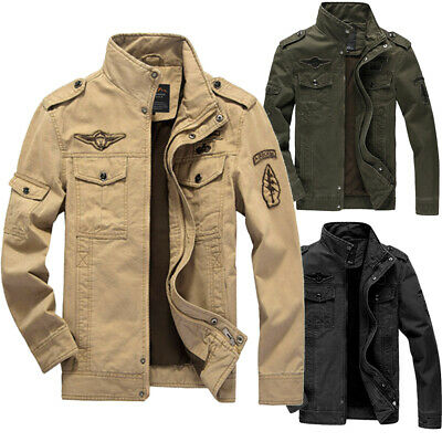 Spring Casual Men Military Jackets Cotton Collar Jacket Coat Parkas Outwear New