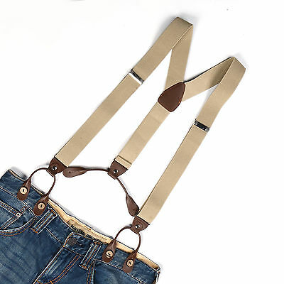 New Mens Adjustable Button holes Unisex suspenders Solid womens braces BD701
