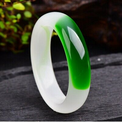 AAA Wide Version Bangle Chinese Green Jade Hand Carved Bracelet 58mm-64mm