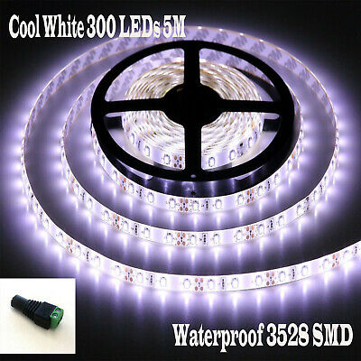 Cool White 300 LEDs 5M Flexible Bright LED Strip Lights 12V Waterproof 3528 SMD