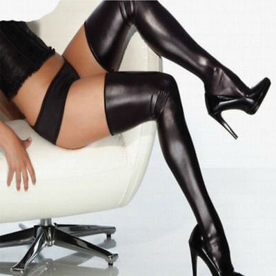 PU Leather Womens Sexy Over Knee Long Ladies Thigh High Stockings Wet Look Socks