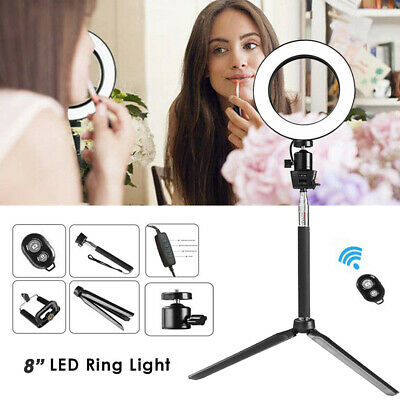 8'' LED Ring Light Kit With Stand 5500K Dimmable Selfie For Camera Makeup Phone