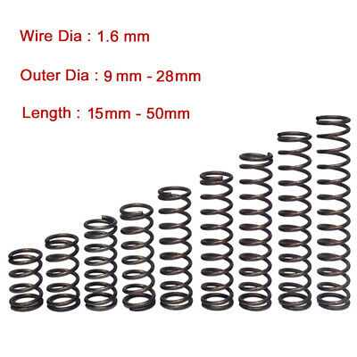 10Pcs Compression Spring Wire Dia 1.6 mm Y Type Small Springs Steel OD 9mm-28mm