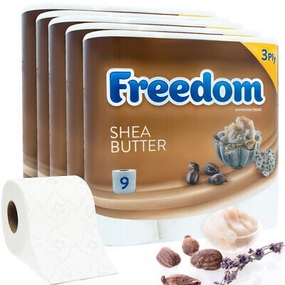 45 Rolls Freedom Inspirations Quilted Shea Butter 3 Ply Toilet Paper