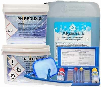10kg Antialghe + 10kg Tri-cloro 90 200 + 5kg Ph Redux g + Kit Test Ph + Re + Spa