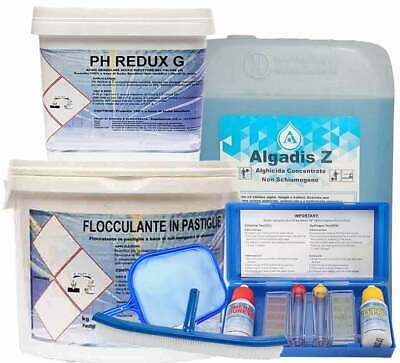 10 kg Antialghe + 10 kg Flocc + 5kg Ph Redux g + Kit test ph + Retino + Spazzola