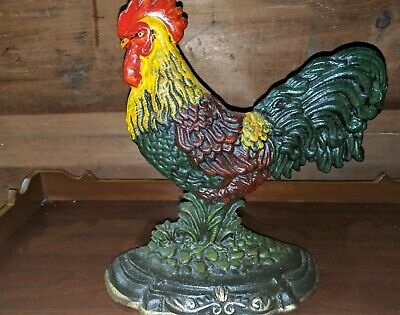 Cast Iron Rooster Door Stop ~Folk Art Primitive Farmhouse Decor NWOT
