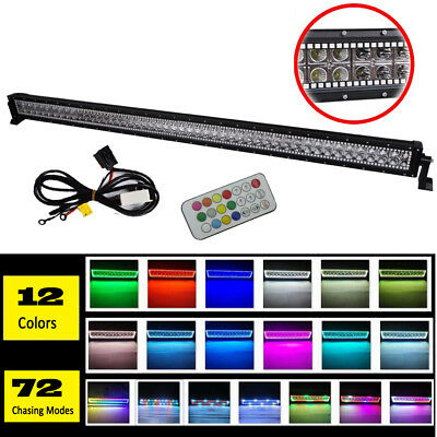 """50"""" inch Led Work Light Bar Offroad with RGB Halo Chasing Fit For Jeep Ford SUV"""