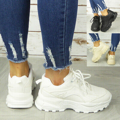 Ladies Chunky Trainers Womens Lace Up Goth Punk High Top New Sneakers Shoes Size