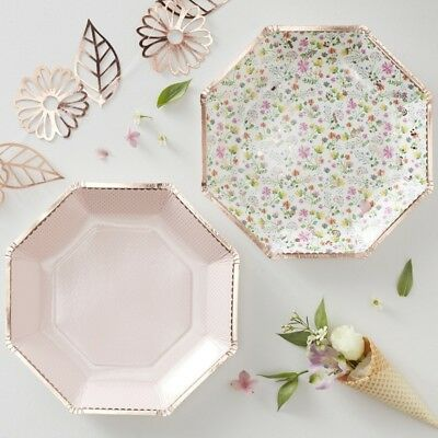 ROSE GOLD FOILED FLORAL PAPER PLATES - DITSY FLORAL- Wedding,Tea Party,Tableware