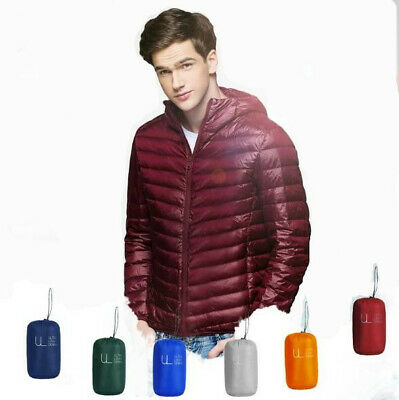 7432b95f7c1 2019 Men Down Jacket Puffer Coat Packable Lightweight Warm Parka Quilted  Hooded
