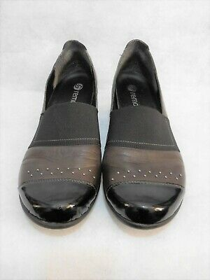 REMONTE mud brown black leather low wedge SHOES (41)