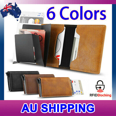 2019 RFID Blocking  Leather Credit Card Holder Case Money Cash Wallet Clip Purse