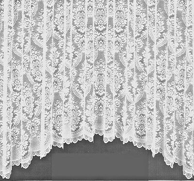 Pure White Thick Heavy Lace Tina Victorian Window Net Curtain Jardiniere