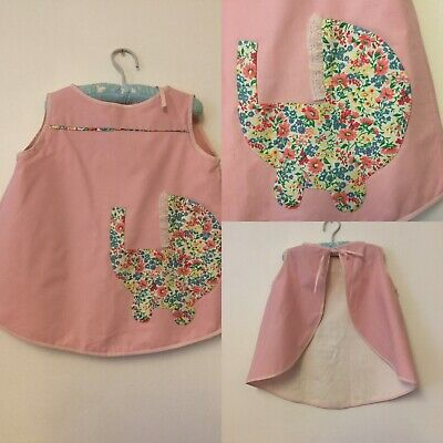 Vintage 1970s Pink Baby Girl Dress Thats Actually A Bib Baby Gift Floral Pocket