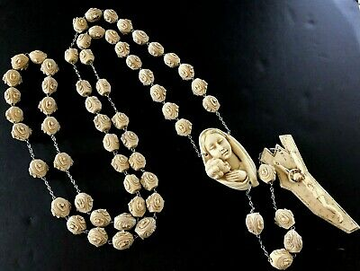 "67"" VTG Rosary Catholic Prayer Bead~Resin Wall Hanging~Made in Italy"