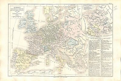 Europa Charles-Quint V Holy Roman Emperor Thirty Years' War Map Card Atlas 1874