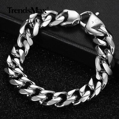 """15mm Fashion Mens 316L Stainless Steel Curb Bracelet Silver Chain Jewelry 7-11"""""""