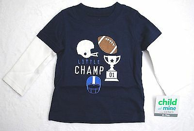 NWT CHILD OF MINE CARTERS Boys CHAMP Long Sleeve Blue COTTON Top Shirt 6-9 Mo