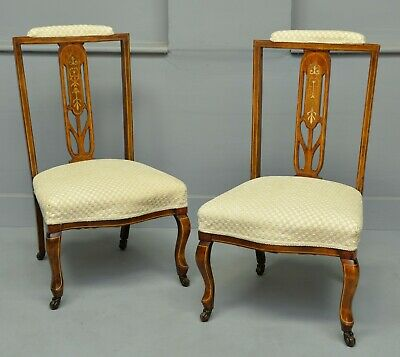 Pretty Pair Of Edwardian Inlaid Mahogany Nursing / Bedroom Chairs