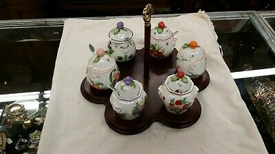 LENOX ORCHARD PATTERN WOODEN CADDIE 1991 RETIRED with 6 Jam Jelly Jars & Spoons