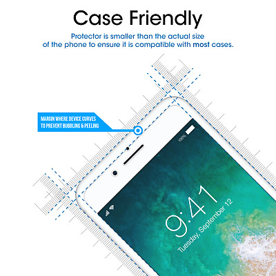 For iPhone 8 / 7 / 6S / 6 - Premium Tempered Glass Screen Protector (2 Pack)