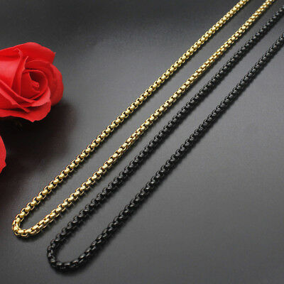 Unisex Man's 2.5-4mm 18K Gold Plated Black Stainless Steel Rolo Chain Necklace