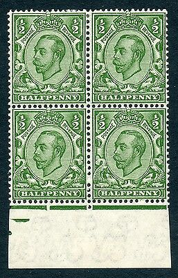 1912 ½d green Downey Die 2  inverted multiple cypher wmk MNH/MH block 4 £64