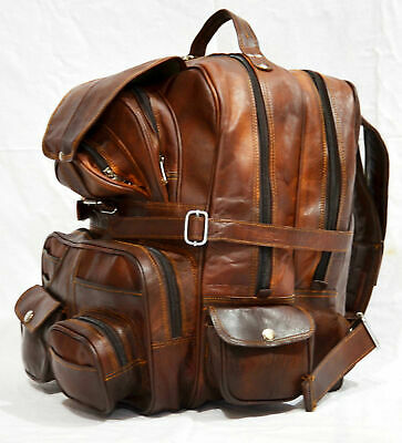 cd9203029 Real Genuine Leather Men's Backpack Laptop Satchel Briefcase Brown Vintage  Bag