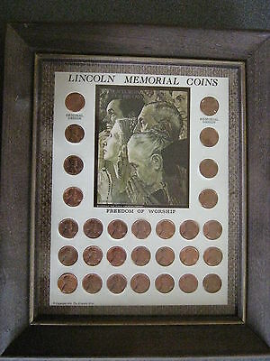 Lincoln Memorial Pennies Penny Framed Picture 1959 to 1971 P D S BU Coins