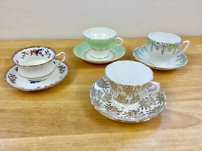 Beautiful vintage Luxury China Tea cups,matching saucers, mismatched china sets,