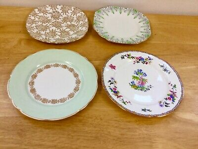 Vintage Rare Mismatched China Plates,Cake Plates Weddings,Tea Party