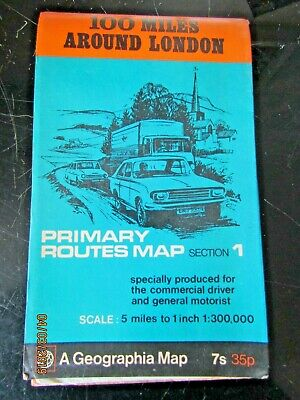 GEOGRAPHIA MAP - PRIMARY ROUTES MAP No1 - 100 MILES AROUND LONDON