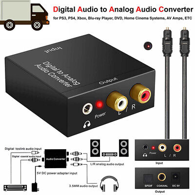 Optical Coax Toslink Digital to Analog Converter RCA L/R Stereo Audio Adapter PL