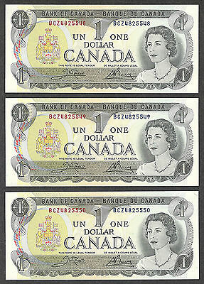 1973 $1.00 BC-46b GEM UNC EPQ Gorgeous 3 Consecutive CRISP Canada One Dollar Set