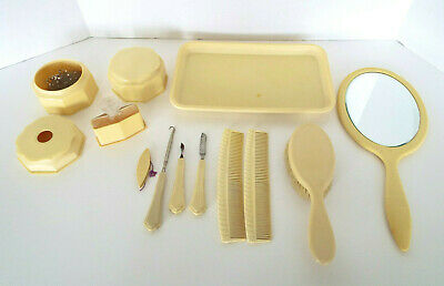 15 Pc Lot Celluloid Dresser Set Tray Comb Brush Mirror Nail Perfume Powder Pins
