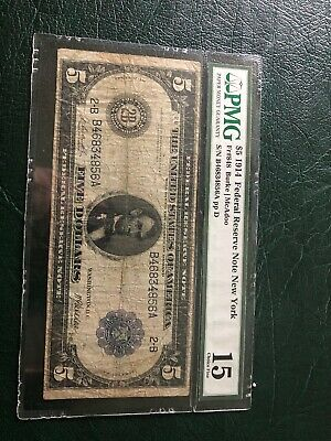 1914 $5 Federal Reserve Note - New York - FR-848 - PMG 15