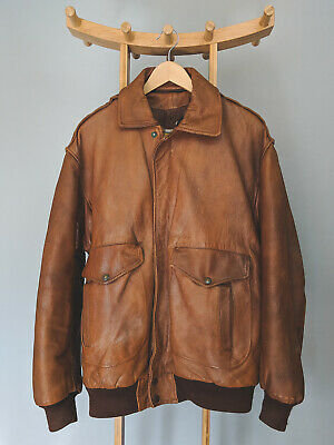 Vintage Cuir Country Made In France Tan Brown Leather Bomber Jacket Men's XLarge