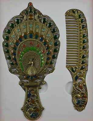 AAA Decorate Cloisonne Carve Proud Peacock Big Hand Mirror Comb & Gift Box Art