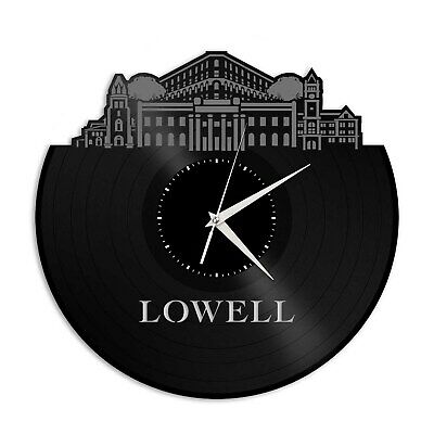 Lowell MA Vinyl Wall Clock Skyline Exclusive Unique Gift Vintage Home Decoration