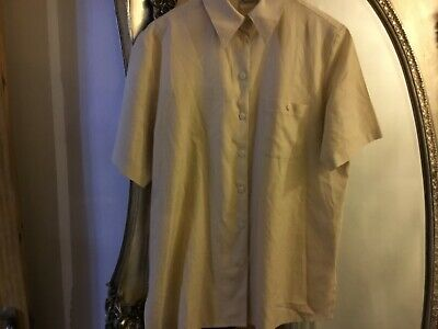 OSCAR B size 18 short sleeve shirt top beigh white stripe summer
