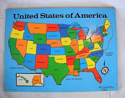 VTG WOODEN PUZZLE Map United States America w/ Hidden Capitals USA ...