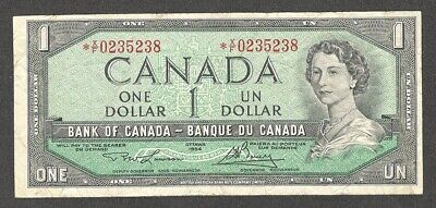 1954 *X/F $1.00 F ** Scarce ASTERISK REPLACEMENT Note KEY QEII Canada One Dollar