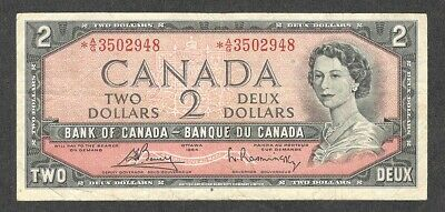 1954 *A/G BC-38cA $2.00 F+ Scarce ASTERISK REPLACEMENT NOTE Canada Two Dollars